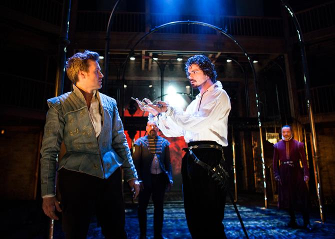 Production image of Fernando (Jamie Thomas King) and Duke of Pavy (Matthew Needham) in Love's Sacrifice.