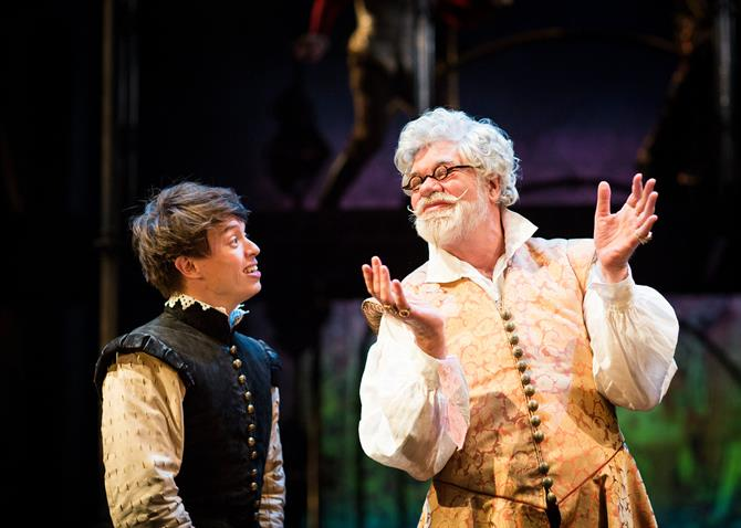 Production image, left to right: Giacopo (Colin Ryan) and Mauruccio (Matthew Kelly) in Love's Sacrifice.