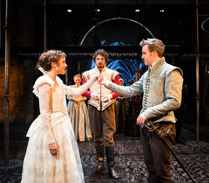 Production image of Bianca (Catrin Stewart), Duke of Pavy (Matthew Needham) and Fernando (Jamie Thomas King).