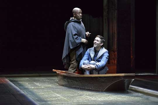 Lucian Msamati as Iago and James Corrigan as Roderigo in Othello 2015