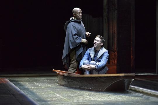 Lucian Msamati as Iago and James Corrigan as Roderigo in Othello 2015