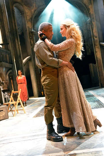 Ayesha Dharker as Emilia, Hugh Quarshie as Othello and Joanna Vanderham as Desdemona in Othello 2015
