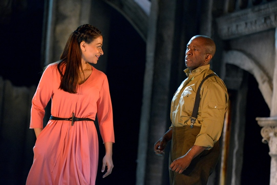 Ayesha Dharker as Emilia and Lucian Msamati as Iago in Othello 2015