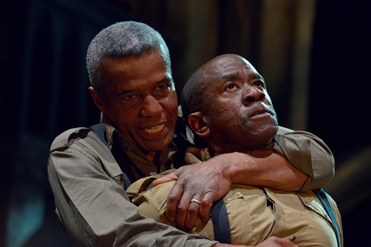 Hugh Quarshie as Othello and Lucian Msamati as Iago in Othello 2015