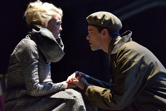 Joanna Vanderham as Desdemona and Jacob Fortune-Lloyd as Cassio in Othello 2015