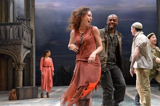 Scarlett Brookes as Bianca and Ken Nwosu as Gentleman of Cyprus in Othello 2015