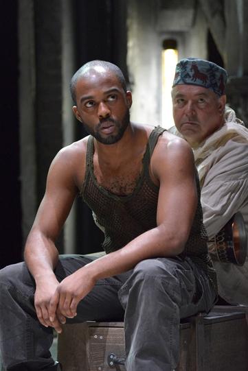 Ken Nwosu as Gentleman of Cyprus and James Jones as Musician in Othello 2015