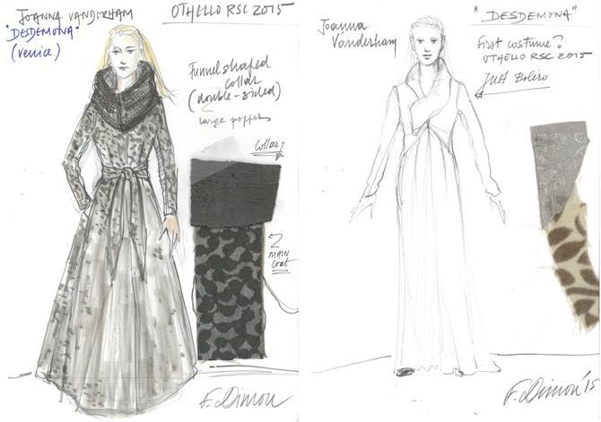 Fotini Dimou's costume designs for Joanna Vanderham as Desdemona in Othello 2015
