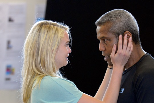 Joanna Vanderham and Hugh Quarshie in rehearsal for Othello 2015