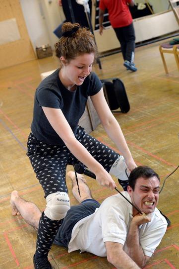 Eva Feiler and Jay Saighal in rehearsal for Othello 2015