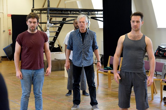James Corrigan, Brian Protheroe and Owen Findlay in rehearsal for Othello 2015