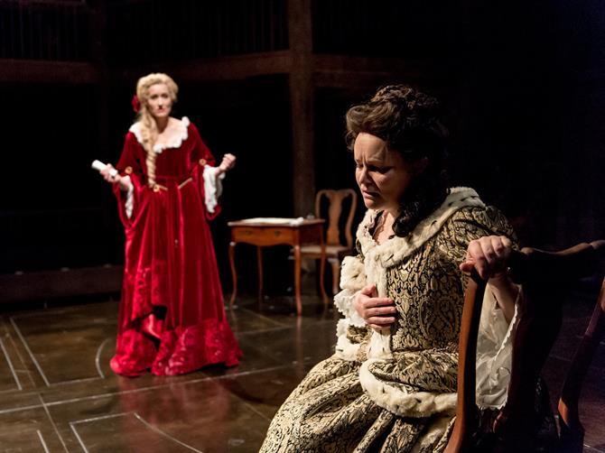 Natascha McElhone as Sarah Churchill and Emma Cunniffe as Queen Anne in Queen Anne