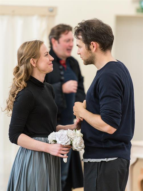 Beth Park and Daniel Easton in rehearsal for Queen Anne.