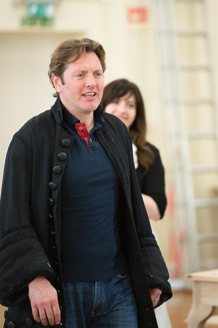 Hywel Morgan in rehearsal for Queen Anne.