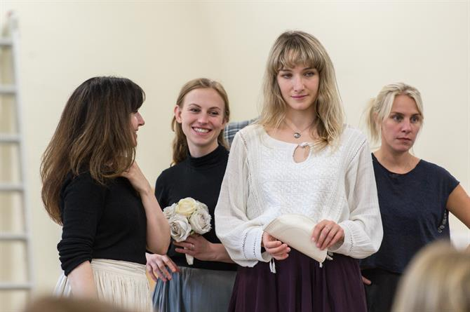 Daisy Ashford, Beth Park, Anna Tierney and Jenny Rainsford in rehearsal for Queen Anne.