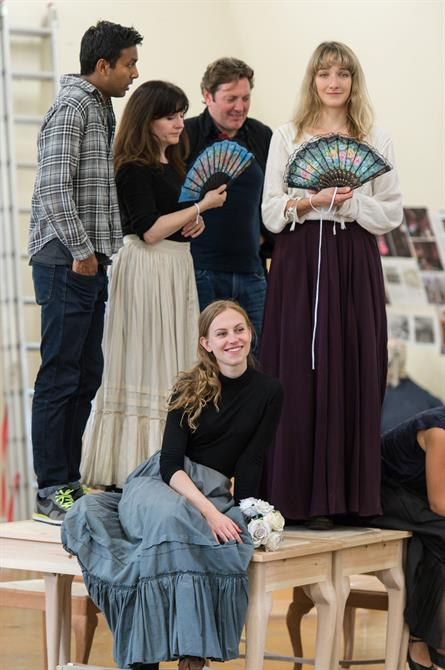 The company of Queen Anne in rehearsal.