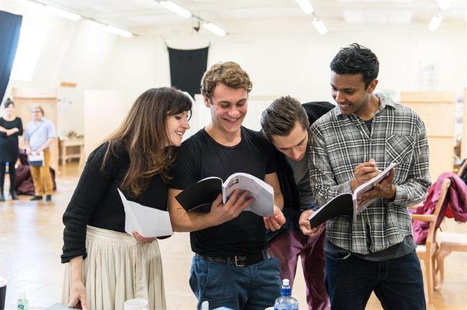 Daisy Ashford, Elliott Ross, Jonathan Christie and Ragevan Vasan in rehearsal for Queen Anne.