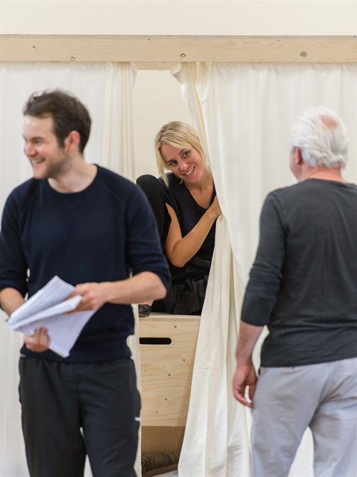 Jenny Rainsford in rehearsal for Queen Anne.