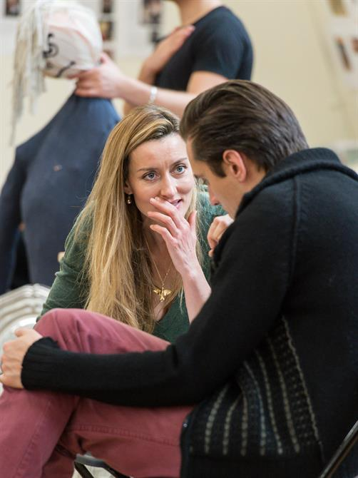 Natascha McElhone and Jonathan Christie in rehearsal for Queen Anne.