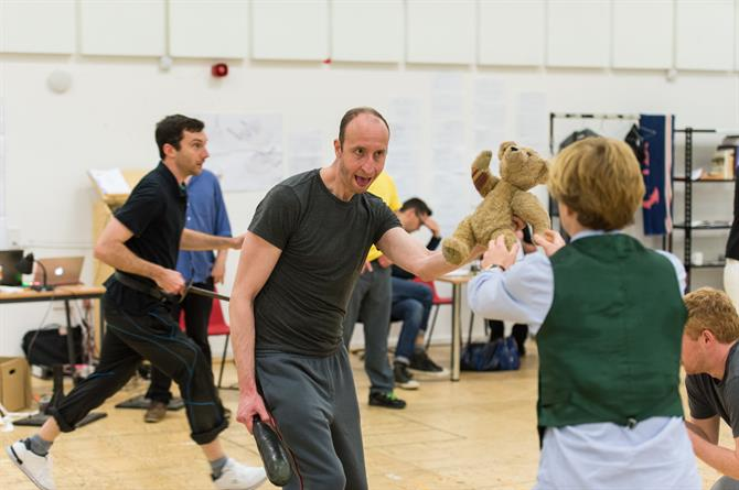 Harry Waller and David Langham in rehearsal for Wendy & Peter Pan 2015
