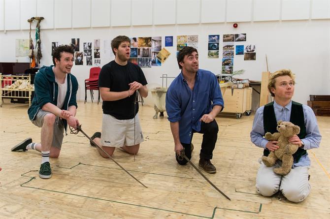 Cavan Clarke, Douggie McMeekin, James Corrigan and Jordan Metcalfe in rehearsal for Wendy & Peter Pan 2015
