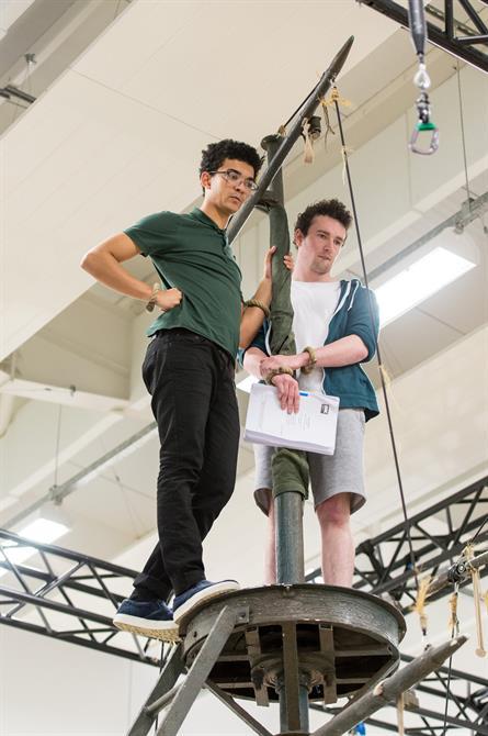 Lawrence Walker and Cavan Clarke in rehearsal for Wendy & Peter Pan 2015