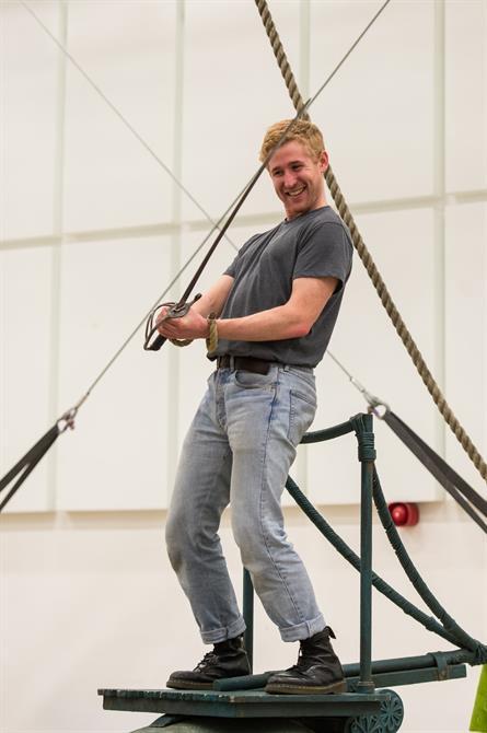 Adam Gillen in rehearsal for Wendy & Peter Pan 2015