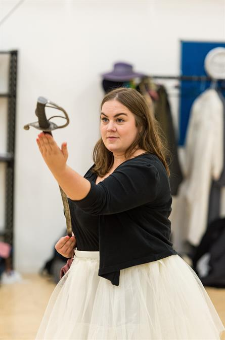 Charlotte Mills in rehearsal for Wendy & Peter Pan 2015