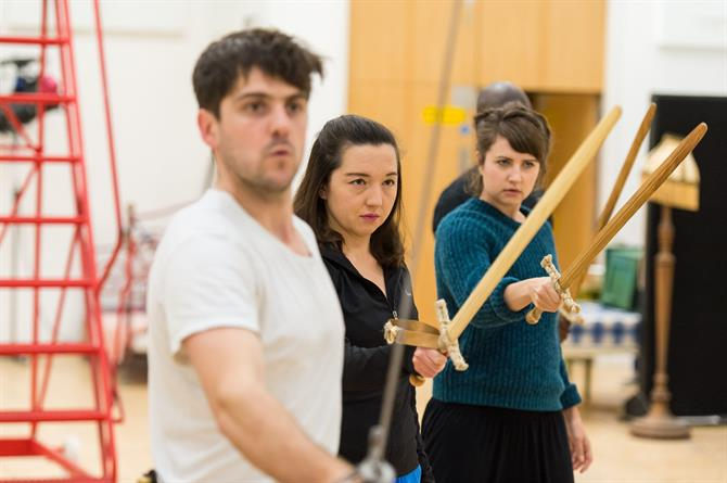 Rhys Rusbatch, Susan Hingley and Laura Prior in rehearsal for Wendy & Peter Pan 2015