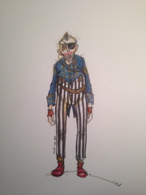 A costume design drawing of a pirate with striped trousers