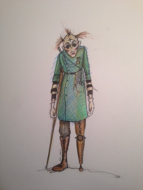 Costume design of a strange pirate character with a stick and false leg, in a blue coat