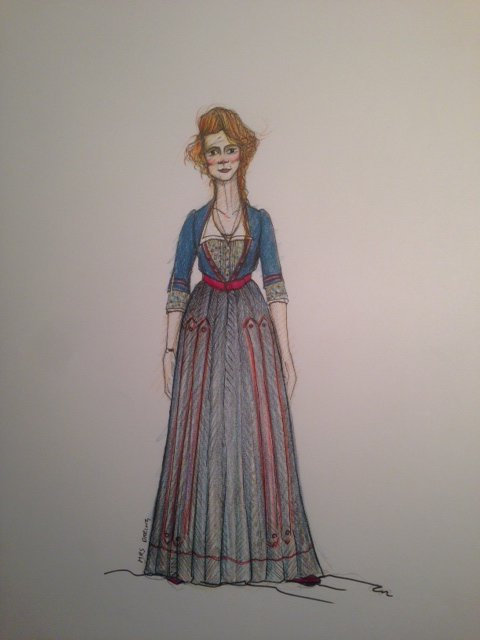 Costume design drawing of a lady with long hair in a long blue and red dress