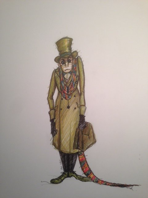 Costume design of a strange character with a tail in a long coat and top hat