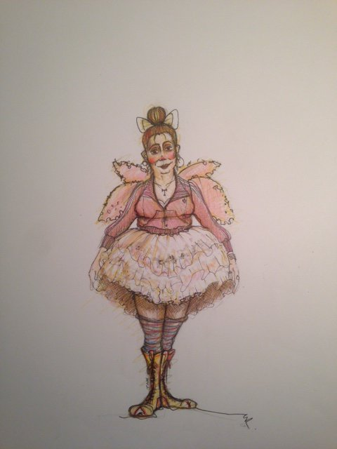 Drawing of a fairy with tutu and pink wings