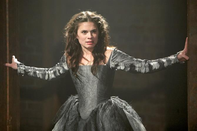 Hayley Atwell as Bianca in Women Beware Women wearing a grey dress