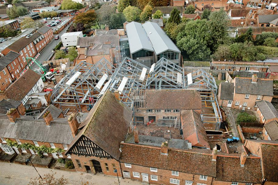 A bird's eye view of the Costume Workshop's steel frame.